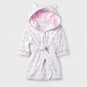 Cloud Island Hearts Knit Terry Robe Sz 6-9 Months